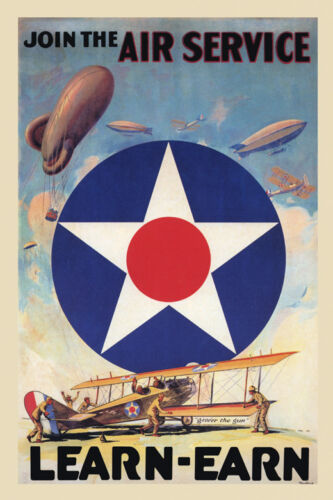 Army Air Service Zeppelin Military Airplane Vintage Poster Repro FREE S//H in USA