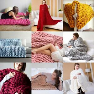 Winter-Warm-Chunky-Knit-Blanket-Thick-Yarn-Merino-Handmade-Bulky-Knitted-Throw