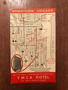 1930s Downtown Chicago Map Card YMCA Hotel Advertit Card | eBay on