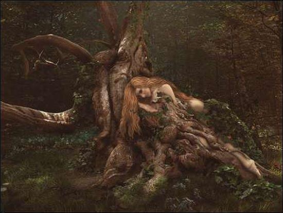 Babette  Art Tree Collection 9 Keilrahmen-Bild Leinwand Baum Fantasy Mädchen