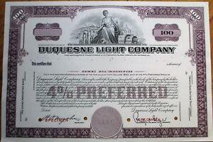 039-Duquesne-Light-amp-Power-Company-039-1950-SPECIMEN-Stock-Certificate-Purple