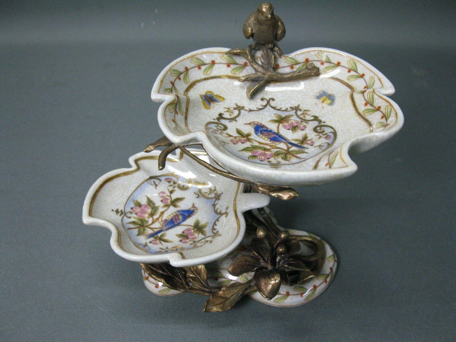 Petit Faste Milieu de Table étagère Zierschale Porcelaine et Bronze 18 Cm
