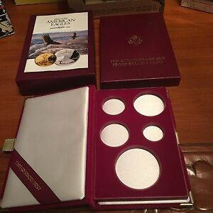 1995-W-Gold-Silver-Eagle-10th-Anniv-5-Coin-Proof-BOX-MINT-OGP-amp-COIN-CAPSULES