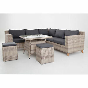speisegruppe grau braun polyrattan aluminium tischgruppe sitzgruppe poly rattan ebay. Black Bedroom Furniture Sets. Home Design Ideas