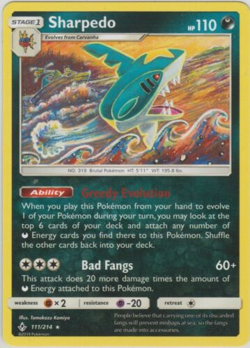 Pokemon TCG SM Unbroken Bonds 111//214 Sharpedo Black Star Rare Card