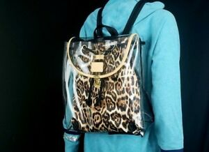 Victoria S Secret 2 In1 Clear And Animal Leopard Print Backpack