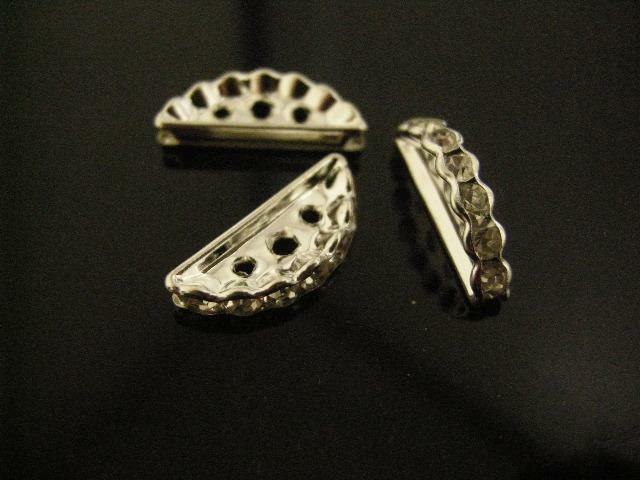 8pc antique silver finish rhinestone metal beads-2417
