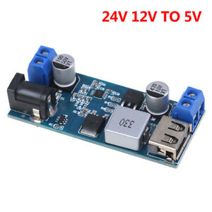 5A DC-DC 24V 12V to 5V Step Down Power Supply Converter USB Charging Mod jebabw