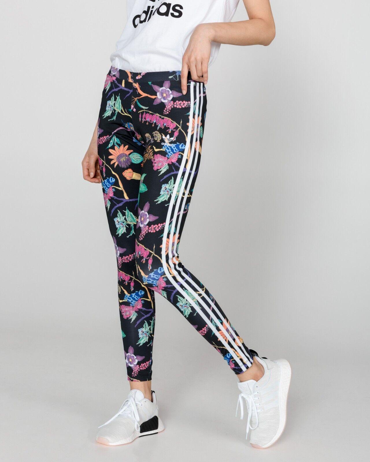 Adidas Originals 3 Stripes Floral Multi Nero Leggings Size UK6,10,12,14  New766
