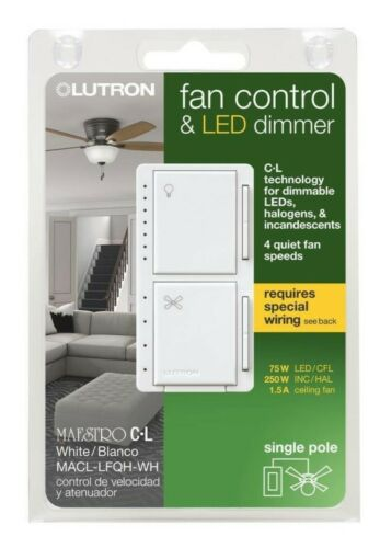 *NEW* Lutron Maestro Fan Control /& LED Dimmer White MACL-LFQH-WH Sealed