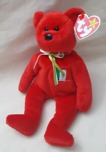 Vintage TY Beanie Baby Osito Bear February 5 1999 red PE Pellets