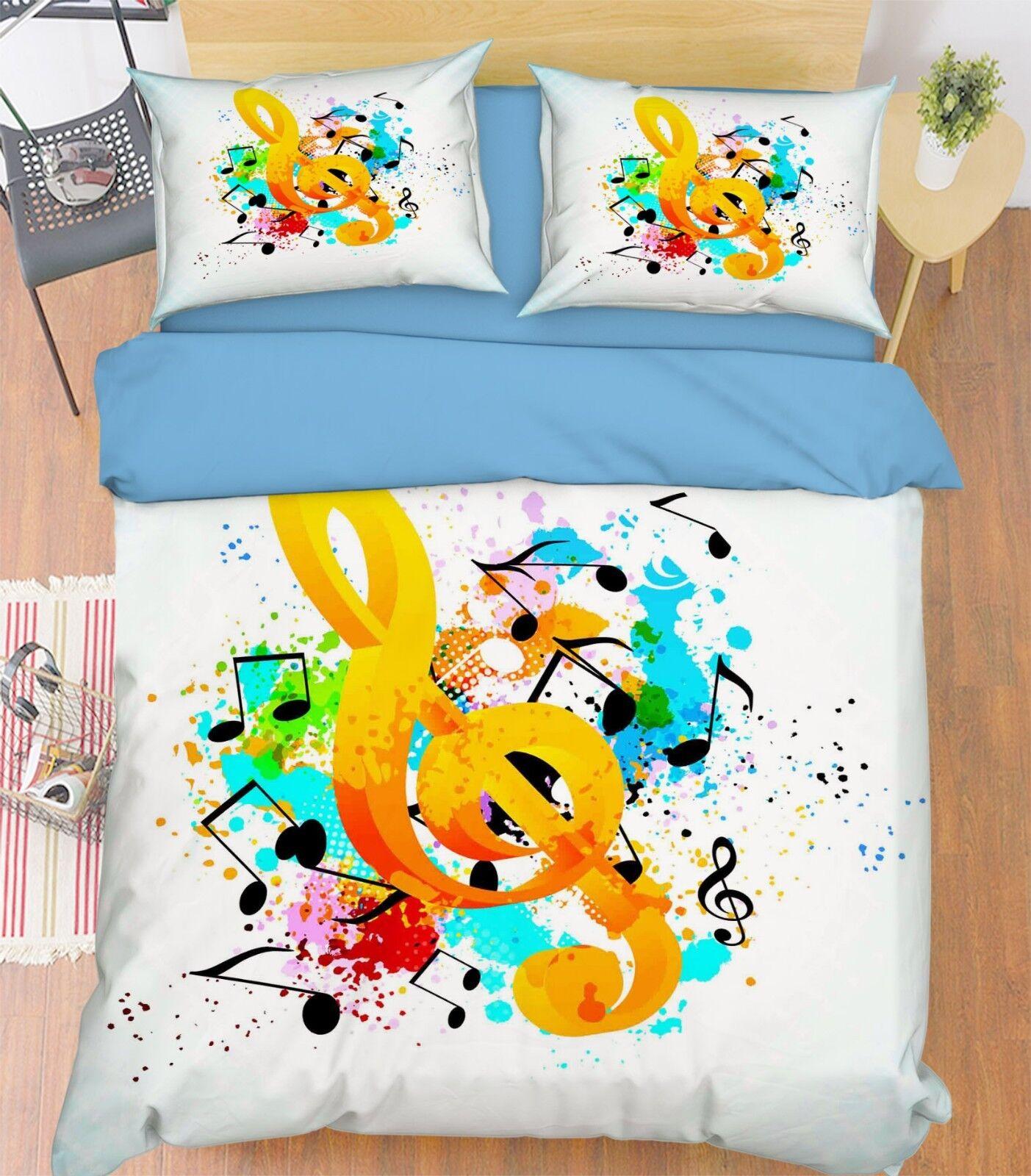 3D Music Symbol 45 Bed Pillowcases Quilt Duvet Cover Set Single Queen King AU