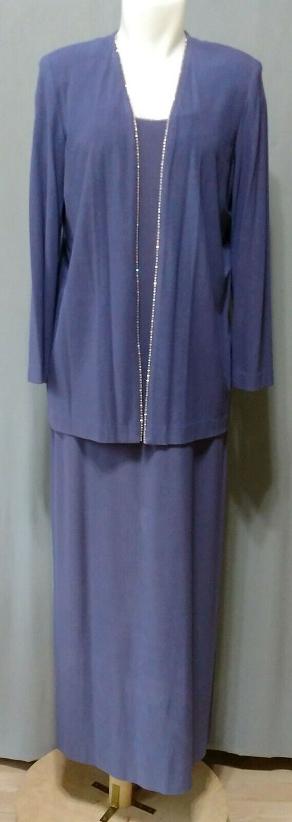 Alex Evenings - blue poly lycra spndx dress suit w lining - slvls dress - sz 14P