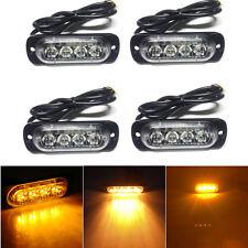 4 x Amber 4LED Car Pickup Flash Emergency Beacon Light Bar Hazard Strobe Warning