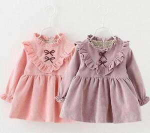 Baby Girls Kids Dress Long Sleeve Clothes Top Retro Victorian Party ... 1102cee1fb6e