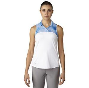 Adidas-Donna-Climacool-Stampato-Maglia-senza-Maniche-Golf-Polo-Salva-40-Piccolo
