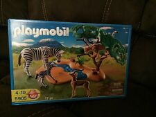 PLAYMOBIL #5905  WILDLIFE WATERHOLE  New In Box Zebra Cheetah Gazelle