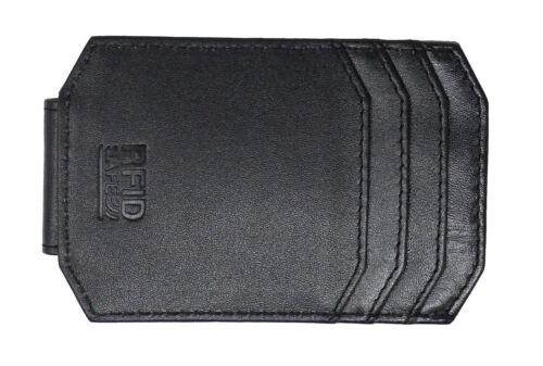 Hombre Cuero Real de RFID Minimalista CarHolder Billetera fuerte imán dinero Clip 725