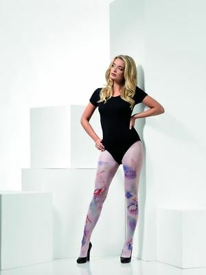 Halloween Fever Hosiery Zombie Attack Opaque Tights Uk Size 6-14 #ca Strong Packing