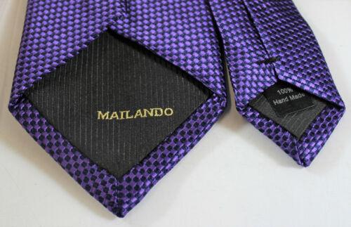 Krawatte von Mailando schwarze Kästchen dunkles lila-schwarz NEU Handmade Nr.5