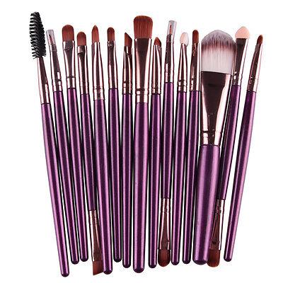 15Pcs Pro Makup Brushes Kit Eyeshadow Eyebrow Lip Foundation Powder Tool Set New