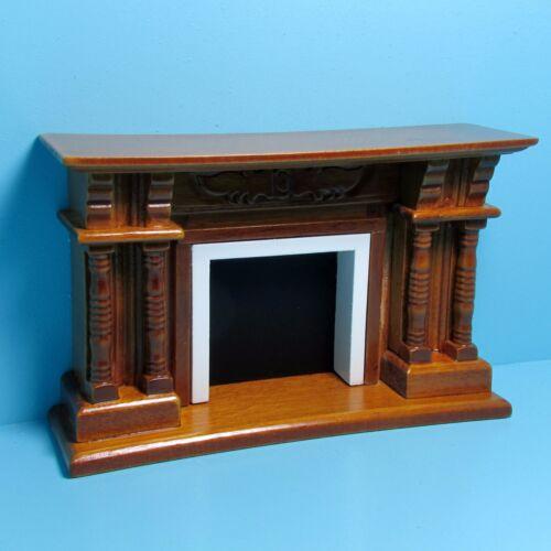 Dollhouse Miniature Standard Fireplace in Wood Walnut ~ T6941