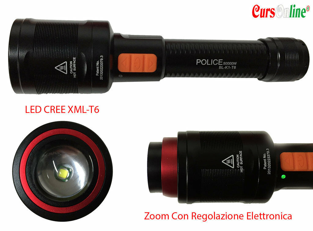 Tactical Torch Professional bl-k1 LED CREE XM-L t6 Zoom Electric blanc lumière