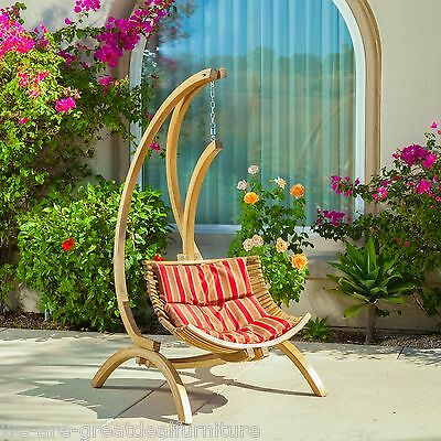 Outdoor Patio Furniture Wooden  Hanging Chair Swing w/ Brown and Red Cushion