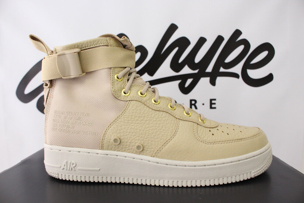 NIKE SF AF1 AIR FORCE 1 MID SZ 9.5 MUSHROOM LIGHT BONE FIELD BOOT 917753 200