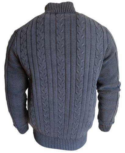 M bis 4XL Baileys Strick Cardigan Garmed Wash mit Zopfmuster gefüttert blau Gr
