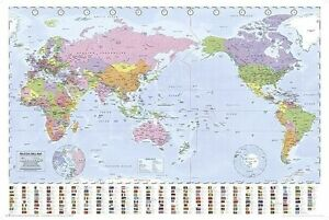 Laminated world map flags poster 61x91cm pacific centered image is loading laminated world map flags poster 61x91cm pacific centered gumiabroncs Gallery