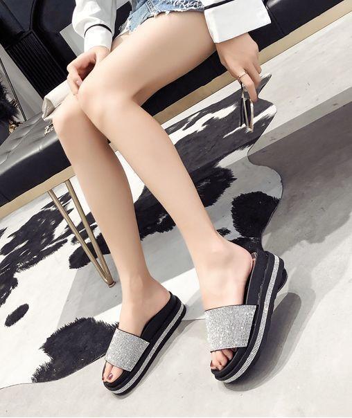 Sandalias zapatillas mujer zuecos purpurina plata negro cuña 7 cm cuerda cómodo