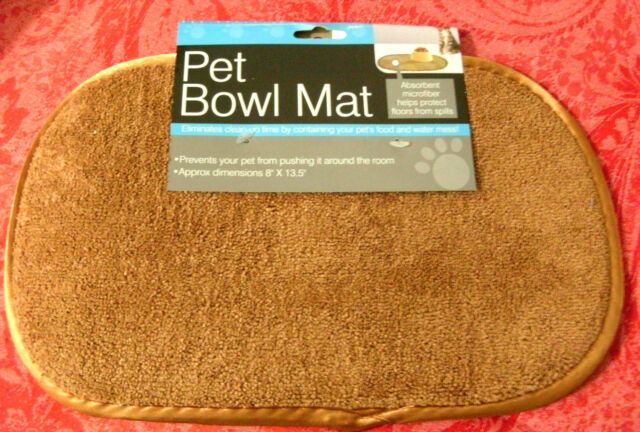 Pet Bowl Mat Dogs Cat Microfiber Textured Base Size 8 inch x 13.5 inch Washable