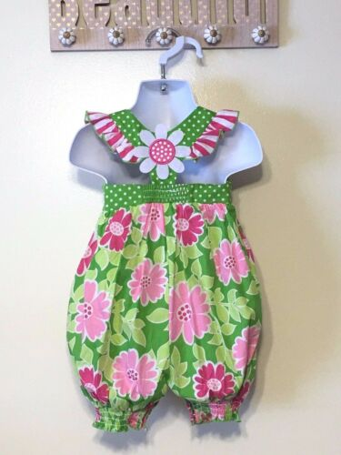 Bonnie Jean Baby Girls Spring Summer Flower Coverall Dress 12M 18M 24M New