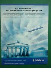 9/01 PUB ROLLS-ROYCE BR715 TRIEBWERK BOEING 717 BRANDENBURGER TOR GERMAN AD
