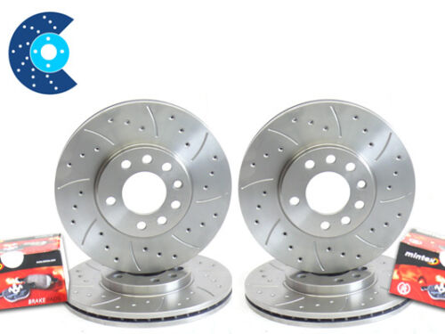 E46 330i DRILLED GROOVED Brake Discs Front Rear /& Pads