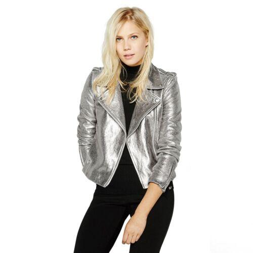 Biker Metallic Buttons Star Lynlåsen Rock Frakke Brief Sølv Jacket Kvinder vxqn85TpS