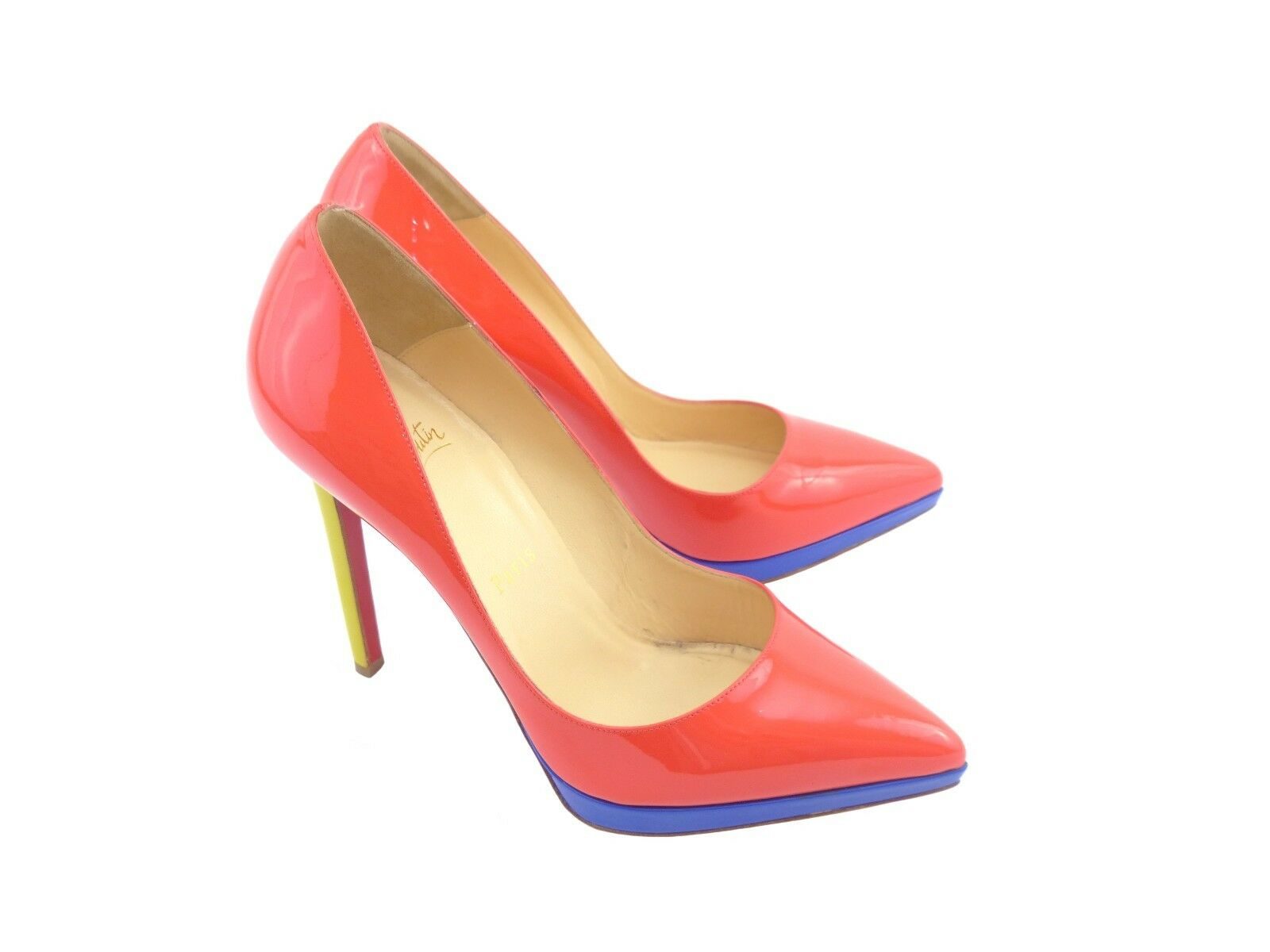 Christian Louboutin Pigalle Plato 120 Poppy Mimosa Pervenche [ 25% OFF RRP ]