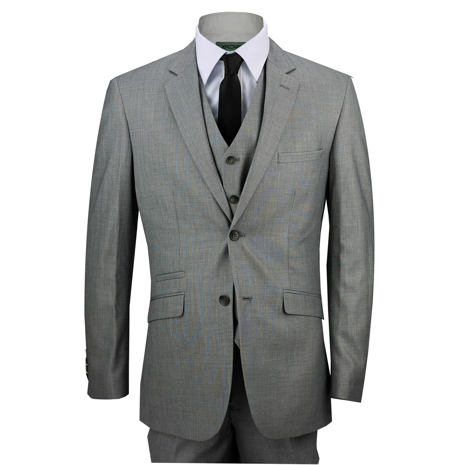 Mens Plain Grey 3 Piece Formal Tailored Fit Casual Smart Suit Work Wedding Prom