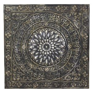 Details About Large Square Raised Relief Medallion Metal Wall Art Panel Sculpture Home Decor