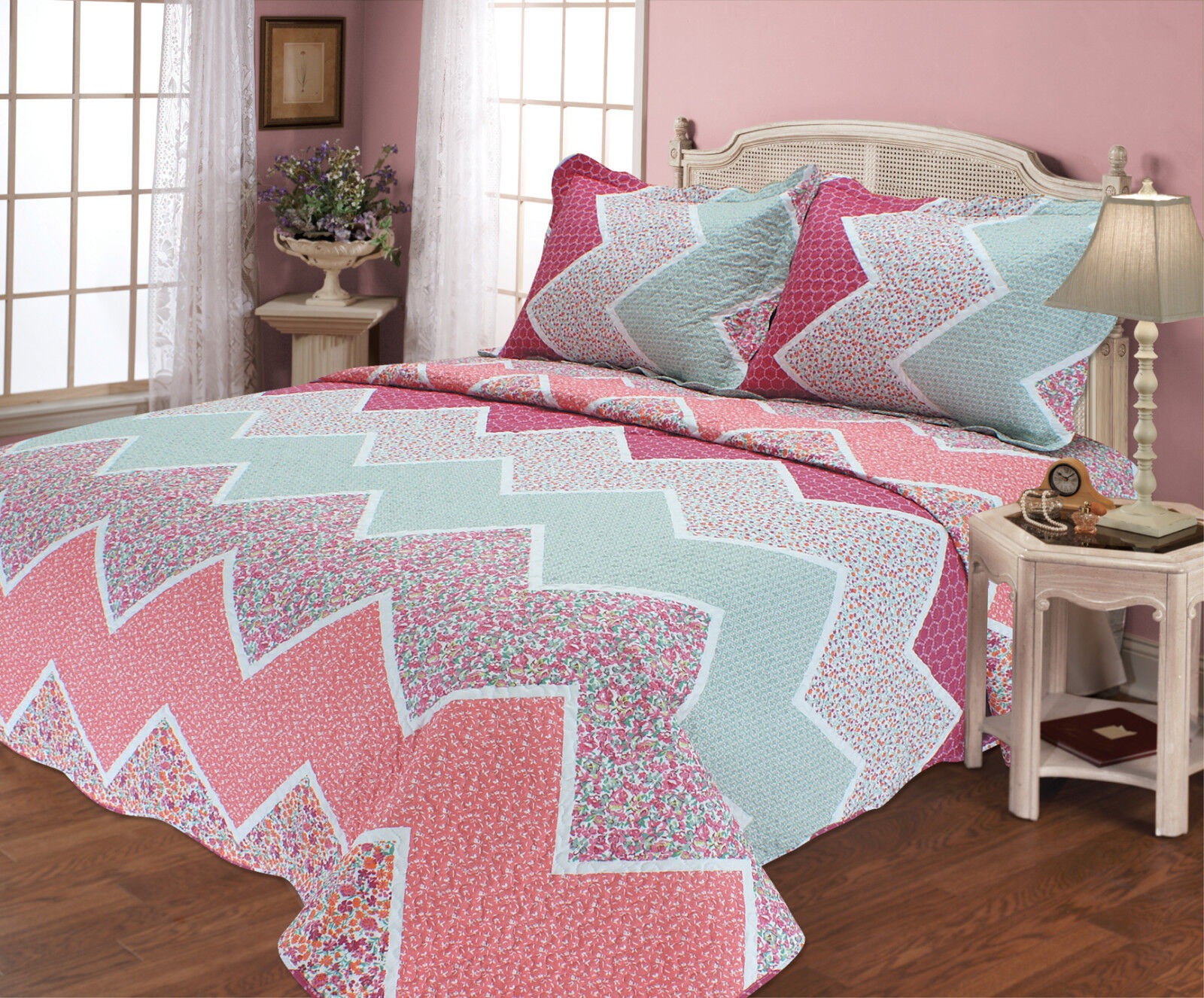ALL FOR YOU Reversible Bedspread, Coverlet,Quilt 68 Farbeful Wave Prints