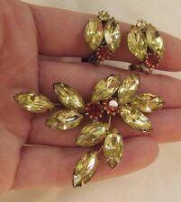 Vintage Amber & Yellow Rhinestone Silver-Tone Brooch & Clip-On Earring Set