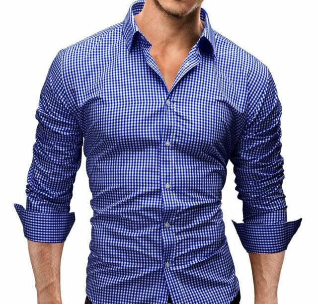 Sexy New Men Casual Grid High Quality Shirt Business Silm fit Shirts Fashion