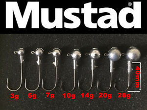 Round-Ball-Jig-Heads-4-0-Mustad-Hooks-10pcs-Brochet-Perche-Zed-vertical-leurre