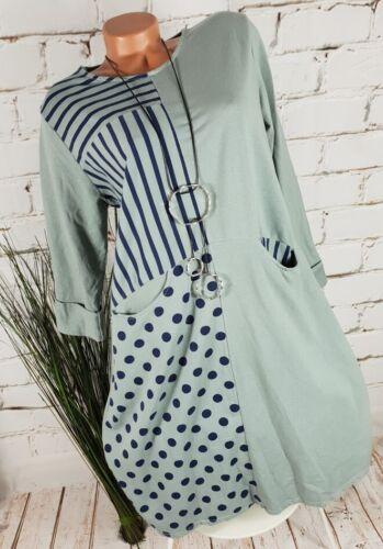NEU ITALY SWEAT TUNIKA DRESS KLEID PATCHWORK DOTS /& STRIPES SALBEI 36-40