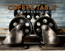 Vtg STEEL INDUSTRIAL CASTER SET, Factory Metal Coffee Table Furniture Iron Wheel