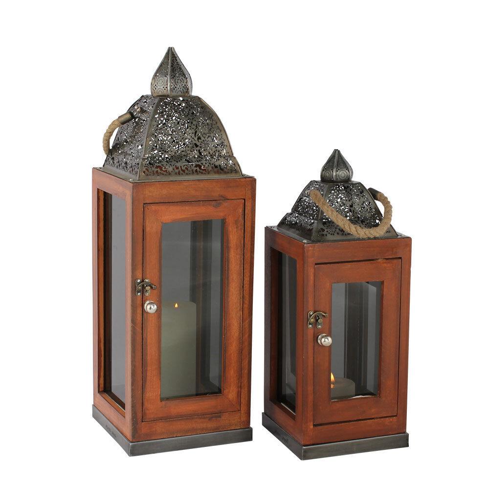 Orientalische Holzlaterne Windlicht Gartenlaterne Holz Metall Glas   2 Größen