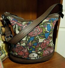 Fossil Canvas and Leather Multi Color Shoulder Bag, FREE Wallet Organizer