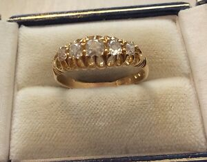 Stunning-Ladies-Heavy-Solid-18ct-Gold-Victorian-Old-Cut-Five-Stone-Diamond-Ring