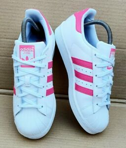 ADIDAS SUPERSTAR SHELL TOE TRAINERS WHITE & HOT PINK SIZE 5.5 UK ...